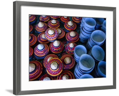 Locally Made Baskets and Ceramic Bowls for Sale in Najran Basket Souq, Najran, Asir, Saudi Arabia-Tony Wheeler-Framed Art Print