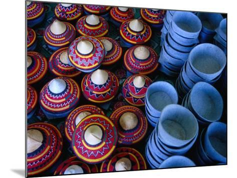 Locally Made Baskets and Ceramic Bowls for Sale in Najran Basket Souq, Najran, Asir, Saudi Arabia-Tony Wheeler-Mounted Photographic Print