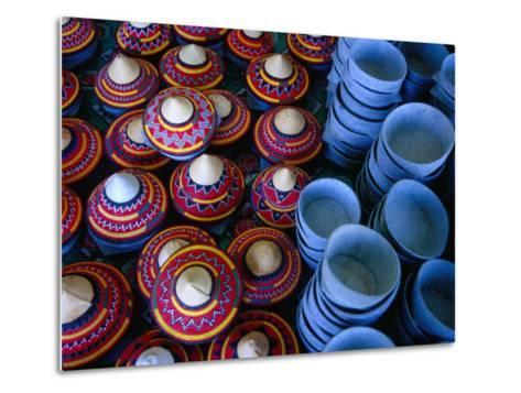 Locally Made Baskets and Ceramic Bowls for Sale in Najran Basket Souq, Najran, Asir, Saudi Arabia-Tony Wheeler-Metal Print