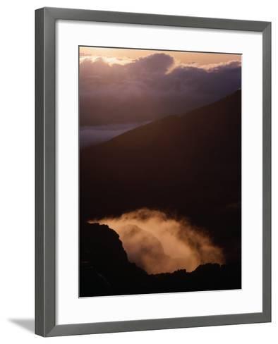 Sunrise Over Haleakala Crater, Haleakala National Park, Maui, Hawaii, USA-Lawrence Worcester-Framed Art Print