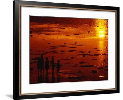 Children Silhouetted at Sunset, Ko Samui, Surat Thani, Thailand-Dallas Stribley-Framed Art Print