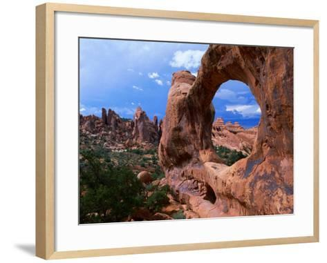 Looking Through an Arch in Arches National Monument, Utah, Arches National Park, USA-Mark Newman-Framed Art Print