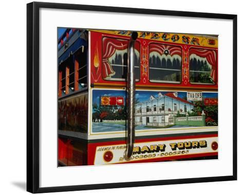 Chiva Traditional Colombian Bus with Wooden Painted Body, Cartagena, Bolivar, Colombia-Krzysztof Dydynski-Framed Art Print
