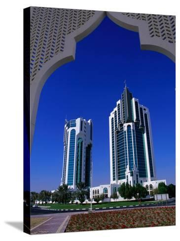 Twin Towers at Eastern End of the Corniche, Doha, Ad Dawhah, Qatar-Mark Daffey-Stretched Canvas Print