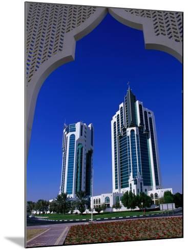 Twin Towers at Eastern End of the Corniche, Doha, Ad Dawhah, Qatar-Mark Daffey-Mounted Photographic Print