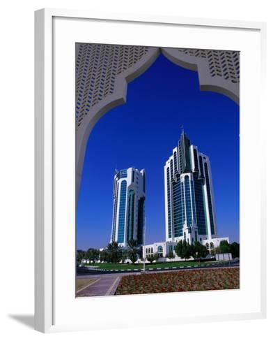 Twin Towers at Eastern End of the Corniche, Doha, Ad Dawhah, Qatar-Mark Daffey-Framed Art Print