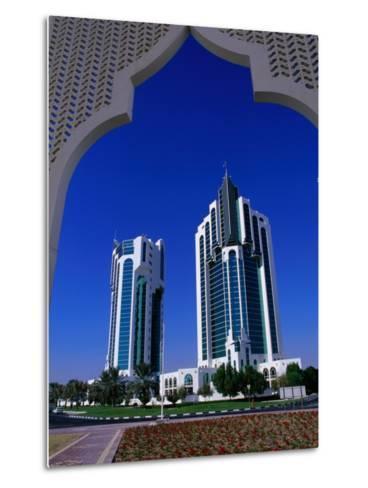 Twin Towers at Eastern End of the Corniche, Doha, Ad Dawhah, Qatar-Mark Daffey-Metal Print