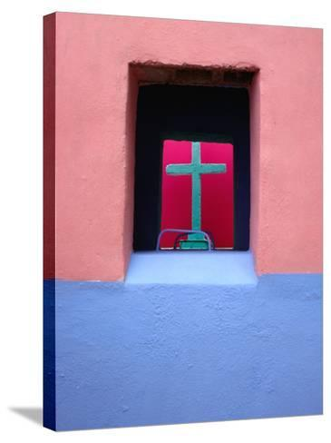 View Through Painted Tombs in the Cemetery of Nunkini in Campeche State, Mexico-Jeffrey Becom-Stretched Canvas Print