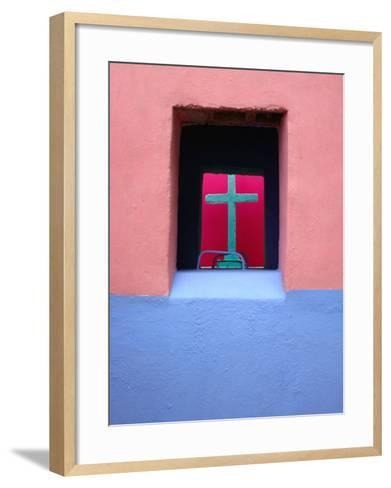 View Through Painted Tombs in the Cemetery of Nunkini in Campeche State, Mexico-Jeffrey Becom-Framed Art Print