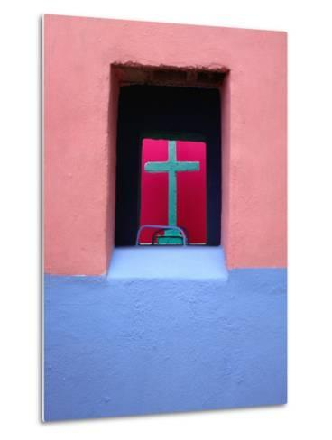 View Through Painted Tombs in the Cemetery of Nunkini in Campeche State, Mexico-Jeffrey Becom-Metal Print