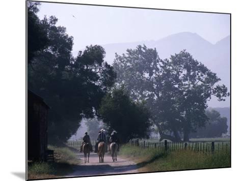 Cattlemen Riding Horses along a Road at Rancho Sisquoc, Santa Barbara, California, USA-Brent Winebrenner-Mounted Photographic Print