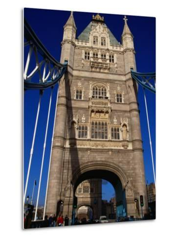 Traffic and People on the Tower Bridge - London, England-Doug McKinlay-Metal Print