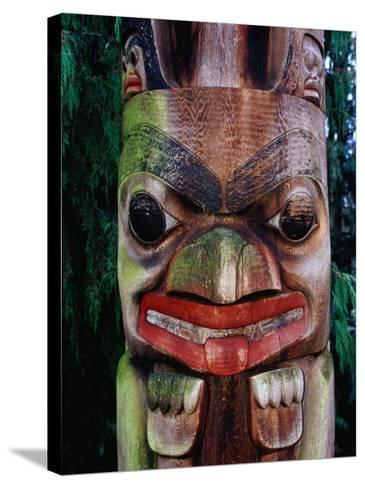 Detail of Totem Poles at University of Washington State Burke Museum, Seattle, Washington, USA-Lawrence Worcester-Stretched Canvas Print