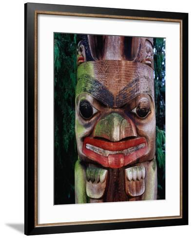 Detail of Totem Poles at University of Washington State Burke Museum, Seattle, Washington, USA-Lawrence Worcester-Framed Art Print