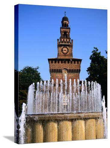 Fountain in Front of Tower of Castello Sforzesco, Milan, Italy-Martin Moos-Stretched Canvas Print