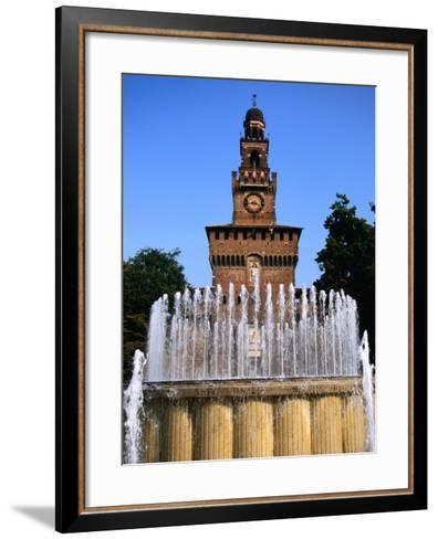 Fountain in Front of Tower of Castello Sforzesco, Milan, Italy-Martin Moos-Framed Art Print