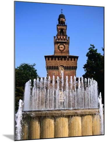 Fountain in Front of Tower of Castello Sforzesco, Milan, Italy-Martin Moos-Mounted Photographic Print