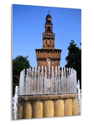 Fountain in Front of Tower of Castello Sforzesco, Milan, Italy-Martin Moos-Metal Print