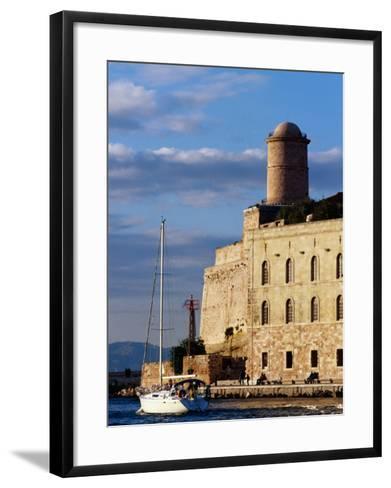 Sail Boat Passing Fort Saint-Jean, Marseille, France-Jean-Bernard Carillet-Framed Art Print
