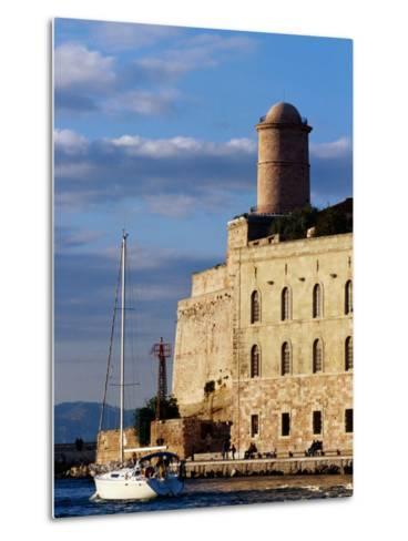 Sail Boat Passing Fort Saint-Jean, Marseille, France-Jean-Bernard Carillet-Metal Print