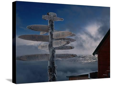 Frozen Signpost, Narvik, Nordland, Norway-Christian Aslund-Stretched Canvas Print