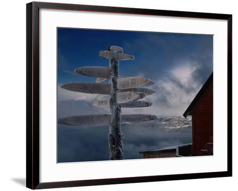 Frozen Signpost, Narvik, Nordland, Norway-Christian Aslund-Framed Art Print