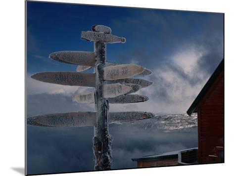 Frozen Signpost, Narvik, Nordland, Norway-Christian Aslund-Mounted Photographic Print