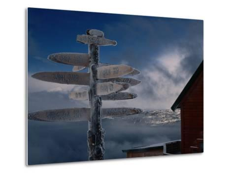 Frozen Signpost, Narvik, Nordland, Norway-Christian Aslund-Metal Print