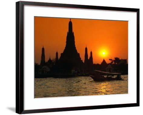 Sunset Over Temple of Dawn (Wat Arun) on River Mae Nam Chao Phraya, Bangkok, Thailand-John Elk III-Framed Art Print