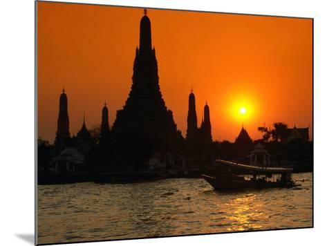 Sunset Over Temple of Dawn (Wat Arun) on River Mae Nam Chao Phraya, Bangkok, Thailand-John Elk III-Mounted Photographic Print