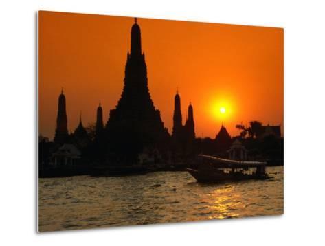 Sunset Over Temple of Dawn (Wat Arun) on River Mae Nam Chao Phraya, Bangkok, Thailand-John Elk III-Metal Print