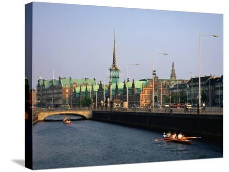Fredriksholm Canal with the Borsen Building (Stockmarket) in Background, Copenhagen, Denmark-Anders Blomqvist-Stretched Canvas Print