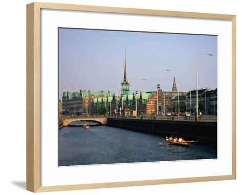 Fredriksholm Canal with the Borsen Building (Stockmarket) in Background, Copenhagen, Denmark-Anders Blomqvist-Framed Art Print
