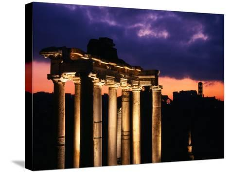 Granite Columns Illuminated Against Sky at Sunrise, Rome, Italy-Jonathan Smith-Stretched Canvas Print