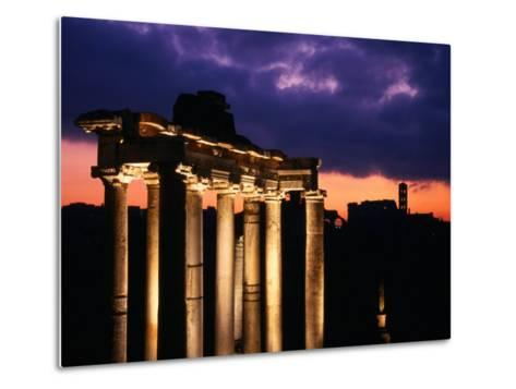 Granite Columns Illuminated Against Sky at Sunrise, Rome, Italy-Jonathan Smith-Metal Print