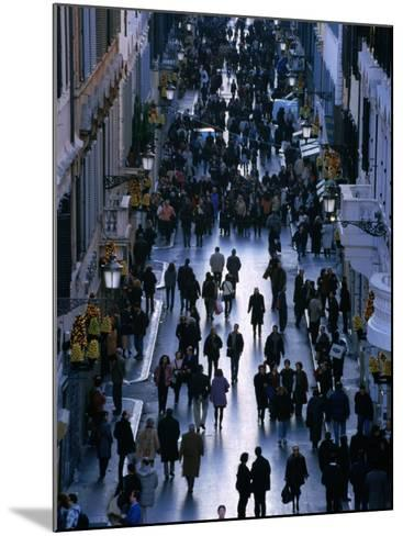 People Walk the Via Condotti as Seen from the Spanish Steps, Rome, Italy-Martin Moos-Mounted Photographic Print
