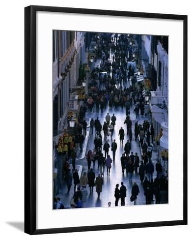 People Walk the Via Condotti as Seen from the Spanish Steps, Rome, Italy-Martin Moos-Framed Art Print
