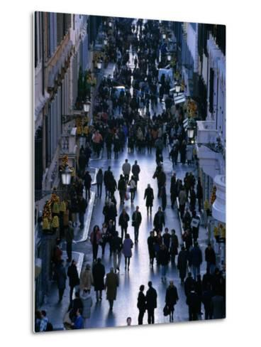 People Walk the Via Condotti as Seen from the Spanish Steps, Rome, Italy-Martin Moos-Metal Print