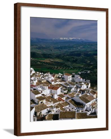 Village Rooftops and Distant Snow-Capped Mountains, Olvera, Andalucia, Spain-David Tomlinson-Framed Art Print