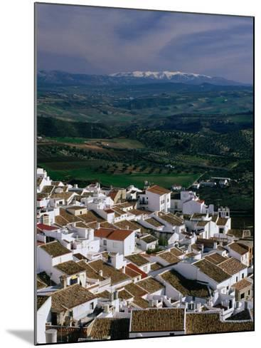Village Rooftops and Distant Snow-Capped Mountains, Olvera, Andalucia, Spain-David Tomlinson-Mounted Photographic Print