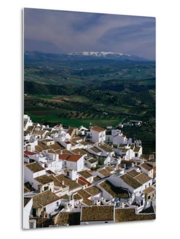 Village Rooftops and Distant Snow-Capped Mountains, Olvera, Andalucia, Spain-David Tomlinson-Metal Print