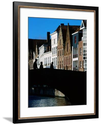 Pedestrians Crossing Canal and Houses Near Jan Van Eyckplein, Bruges, Belgium-Martin Moos-Framed Art Print