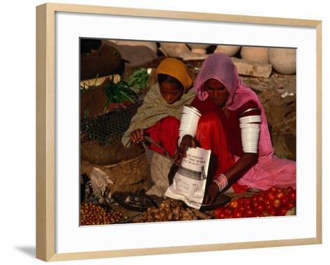 Women Selling Vegetables and Nuts at Jaisalmer Street Market, Jaisalmer, Rajasthan, India-Jane Sweeney-Framed Art Print