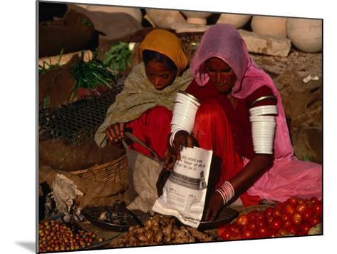 Women Selling Vegetables and Nuts at Jaisalmer Street Market, Jaisalmer, Rajasthan, India-Jane Sweeney-Mounted Photographic Print
