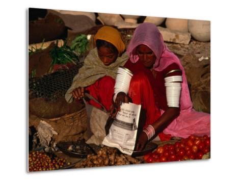 Women Selling Vegetables and Nuts at Jaisalmer Street Market, Jaisalmer, Rajasthan, India-Jane Sweeney-Metal Print
