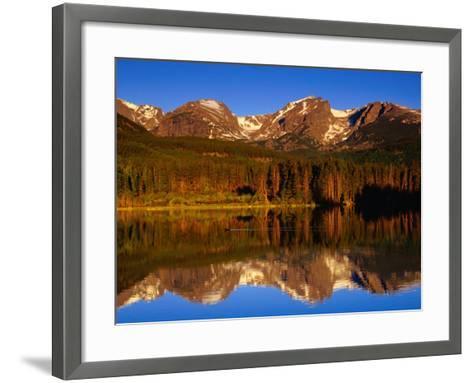 Sprague Lake Provides a Near-Perfect Mirror for the Surrounding Mountains, Colorado, USA-Gareth McCormack-Framed Art Print