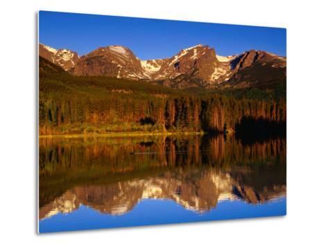 Sprague Lake Provides a Near-Perfect Mirror for the Surrounding Mountains, Colorado, USA-Gareth McCormack-Metal Print