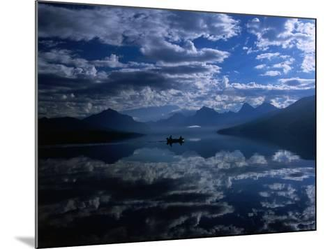 Early Morning Boating in Reflected Sea of Clouds, Lake Mcdonald, Glacier National Park, Montana-Gareth McCormack-Mounted Photographic Print