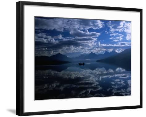 Early Morning Boating in Reflected Sea of Clouds, Lake Mcdonald, Glacier National Park, Montana-Gareth McCormack-Framed Art Print