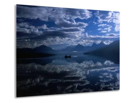 Early Morning Boating in Reflected Sea of Clouds, Lake Mcdonald, Glacier National Park, Montana-Gareth McCormack-Metal Print